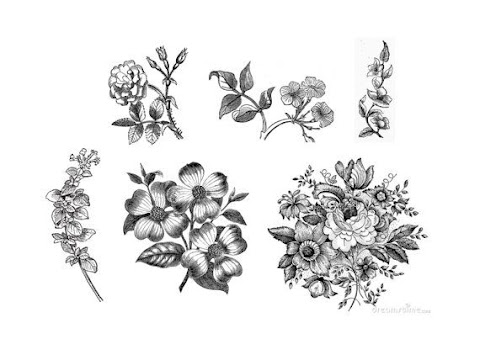 Black And White Vintage Flower Tattoos