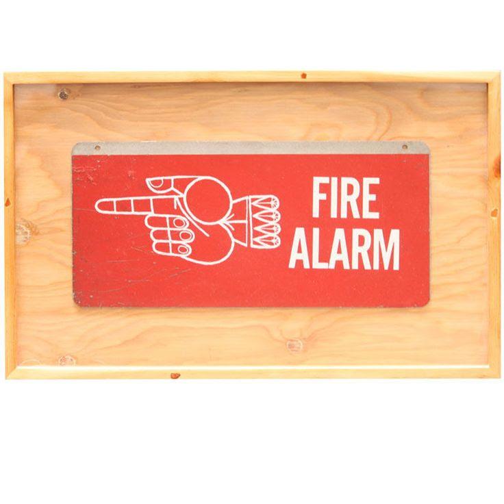 Framed Mid-Century Fire Alarm Sign