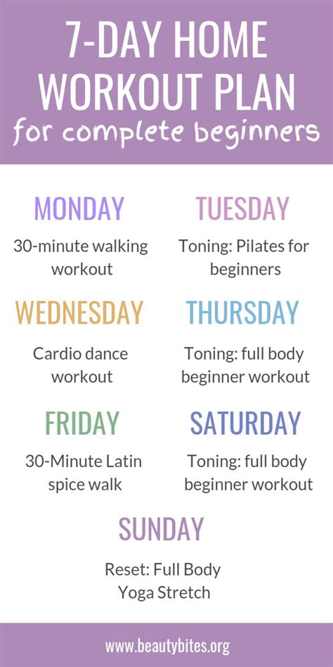 day  home workout plan  complete beginners beauty