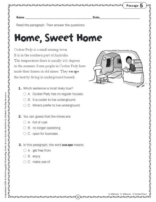 Prehension Skills Short Passages For Close Reading Grade 3