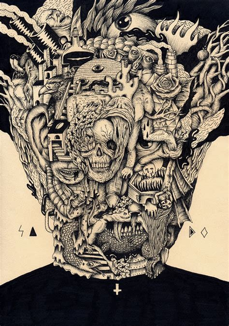 black  white surreal drawings  saddo