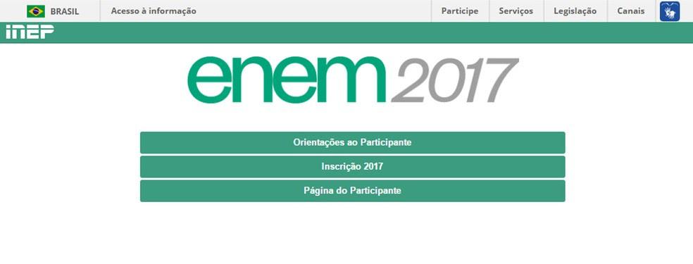 Enem 2017 - Acesso ao portal do participante do exame (Foto: Reprodução/Inep)