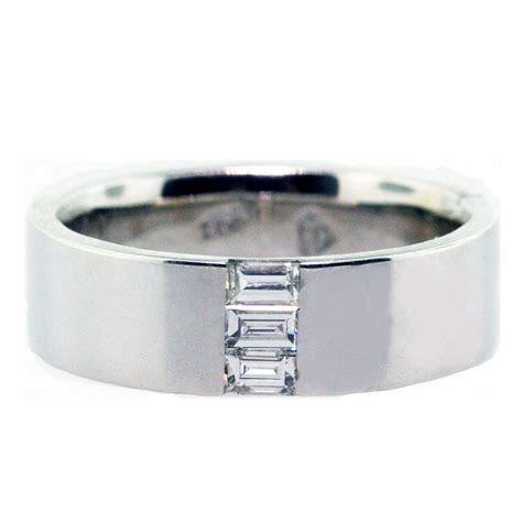 kt white gold  emerald cut diamonds mens wedding