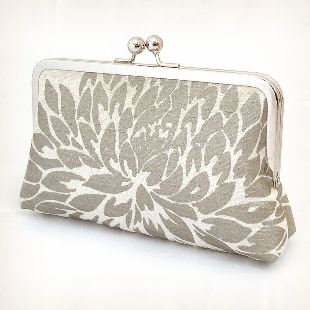 Ivory velvet Chrysanthemum - silk-lined clutch bag