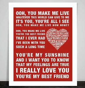 Queen Music Song Lyrics You're My Best Friend Word Art