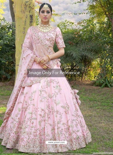 Buy Baby Pink Silk Zari Embroidered Designer Wedding