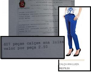 """Na nota fiscal, valor que os costureiros receberam por unidade. Na imagem em destaque, valor que a calça """"Ana Luiza"""" é vendida no site da Le Lis Blanc. Foto: Anali Dupré e Reprodução/Le Lis Blanc"""