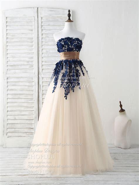 Dark blue lace applique tulle long prom dress blue
