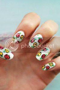 rose flower nail art