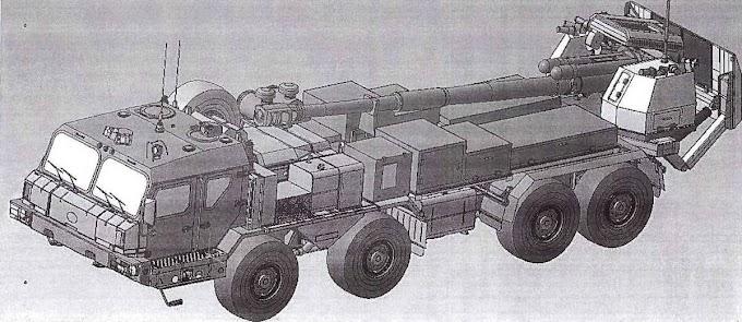 Vaza imagem da primeira artilharia autopropulsada sobre rodas da Rússia