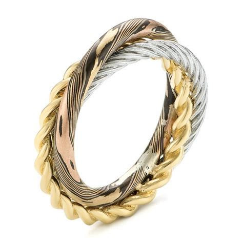 Custom Braided Mokume, White and Yellow Gold Wedding Band