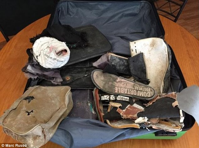 In total Mrs Keen has 20 items (pictured) from MH370 amateur investigator Blaine Gibson which she hopes may lead to the discovery of the missing Malaysian Airlines flight