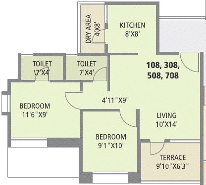2 BHK Flat - 562 Carpet + 61 Terrace - Rs. 28.9 - 29.75 Lakhs -  Pate Surajya Donaje Sinhagad Pune A, C Buildings