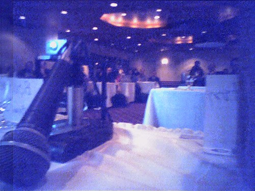 Up front at a conference