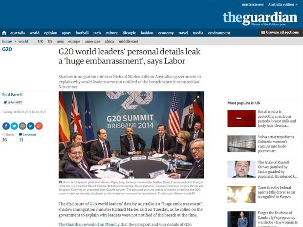 Edição australiana do jornal 'The Guardian' (Foto: Reprodução)