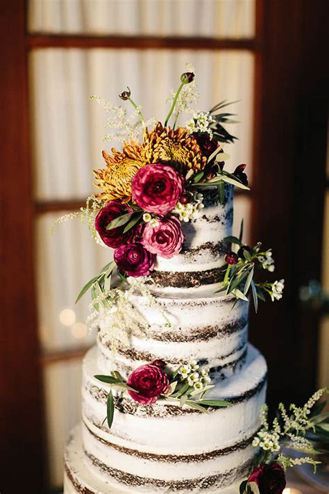 Semi Naked Chocolate Wedding Cake with Fresh Flowers for