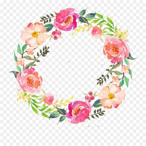Watercolour Flowers Wreath Watercolor painting Garland