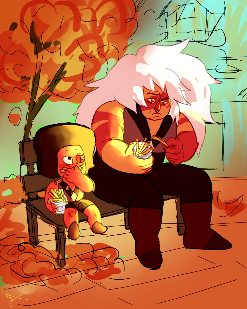 """""""hey do you wanna sit on a bench with me and eat fries and talk about the war? """" Jaspball Bomb Day 2: Redemption I would love if Jasper's redemption were to take place in the fall."""
