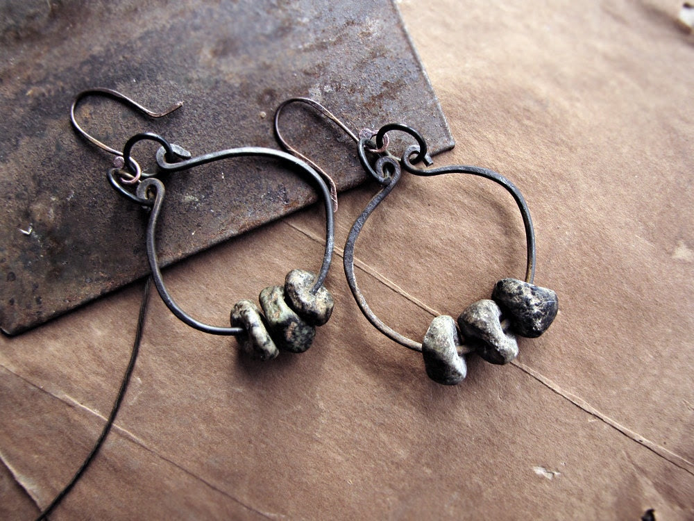 The First Dawn - tribal salvage earrings - neolithic beads - hammered wire