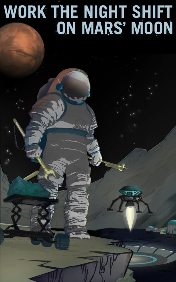 Làm việc ca đêm trên mặt trăng Phobos của Sao Hỏa. Chào mừng những cú đêm! Hãy đến và làm việc ở Phobos, văn phòng của bạn sẽ có cửa sổ với góc nhìn tuyệt đẹp. Sao Hỏa sẽ mọc qua cửa sổ văn phòng bạn đến hai lần mỗi ngày. Credit: NASA/KSC.