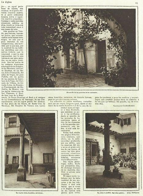 Artículo de Santiago Camarasa sobre los patios toledanos publicado el 25 de agosto de 1928 en la revista La Esfera (pág. 2)