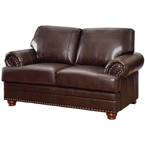 coaster colton  brown leather loveseat steal