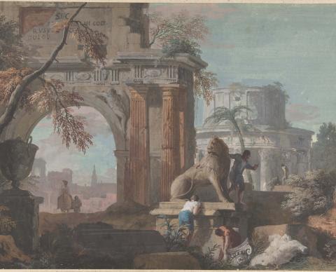 Marco Ricci Capriccio with Roman Ruins