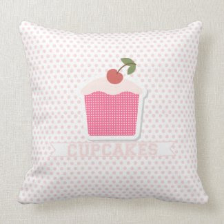 Cupcakes & Polka Dot Pillow