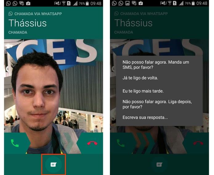 Se você não puder atender uma ligação, pode mandar uma mensagem de texto (Foto: Reprodução/Aline Batista)