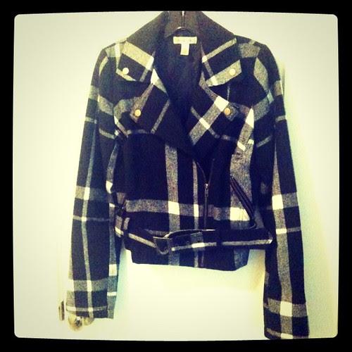 Plaid Wool Bomber Jacket