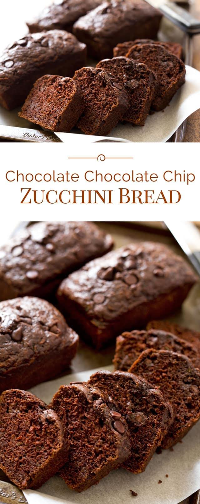 Chocolate Chocolate Chip Zucchini Bread - Barbara Bakes