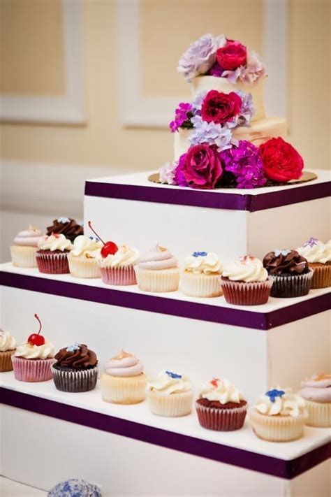 Our mini 2 tiered cake and cupcake table   Weddingbee