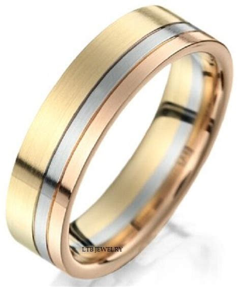 6MM 18K THREE TONE GOLD WEDDING BAND RING MENS   eBay