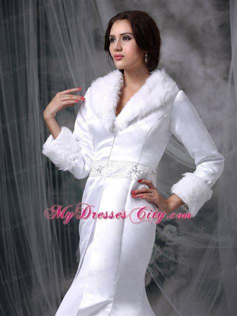 Long Sleeves Beaded Mermaid Winter Wedding Bridal Gown