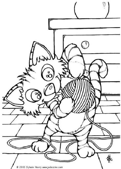 cat   ball  wool coloring page enjoy