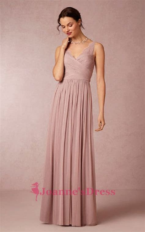Column V Neck Chiffon Long Blush Pink Bridesmaid Dresses