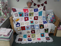 Ta - Dah!!! 'The Royal Wedding' Blanket! Thank you to everyone that has contributed Squares! Much appreciated!