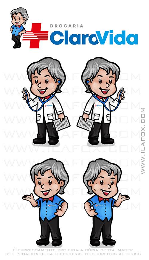 caricatura fofinha, mascote, Claro Vida, Farmácia, Drogaria, caricatura personalizada