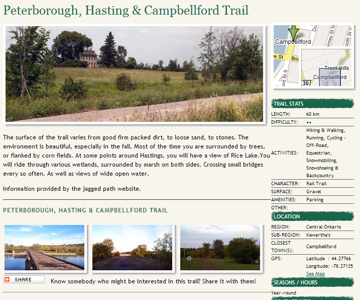 ontario trails peterborough, hastings and campbellford trail