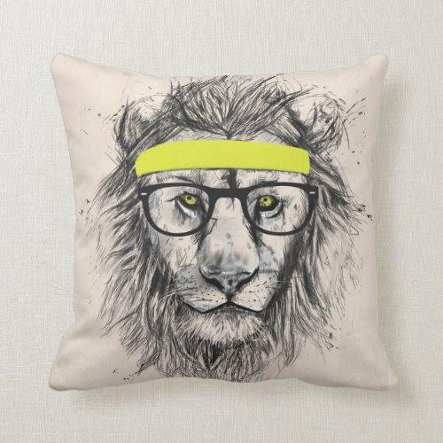 Hipster Lion | Fun Cool Art Throw Pillow