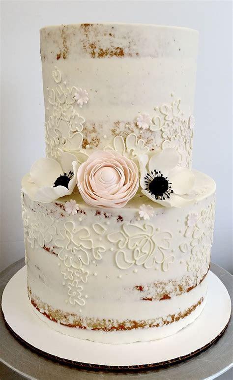 'Scantily Clad' petite wedding cake with gum paste