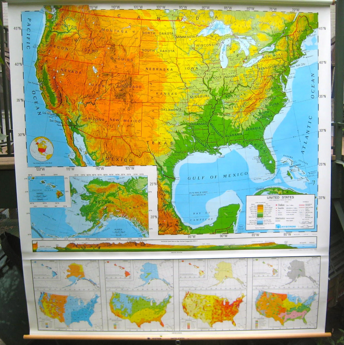 Vintage Pull Down School Wall Map of the U.S.