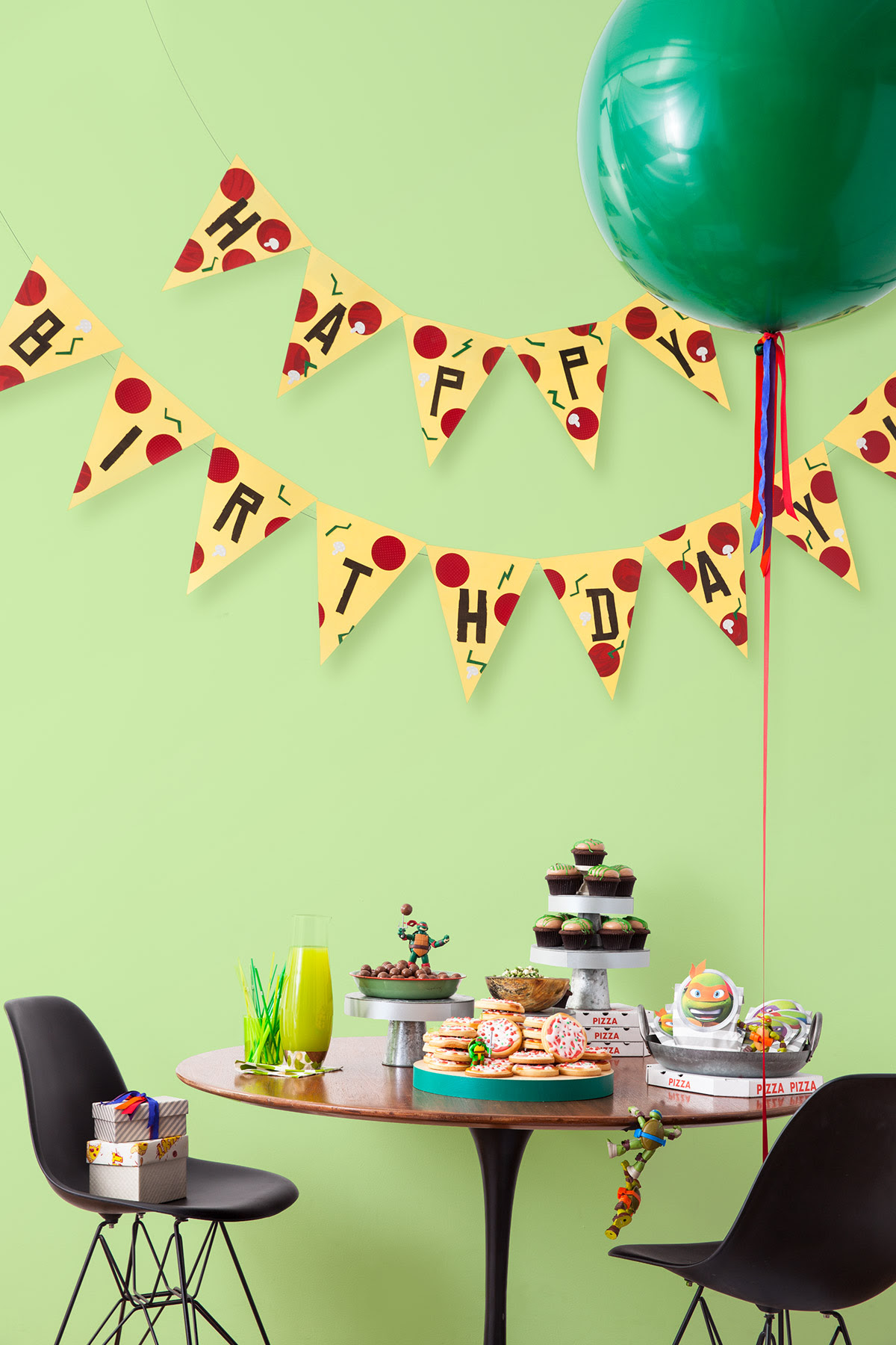 TMNT Printable Pizza Pendant Birthday Banner | Nickelodeon ...