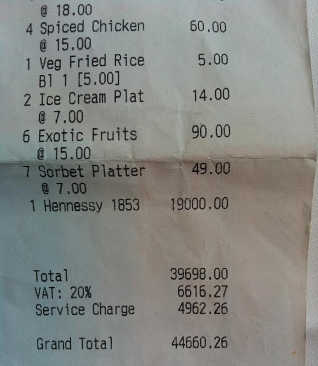 The receipt: This was the image posted on Reddit of a lunch bill allegedly run up by Olympics officials