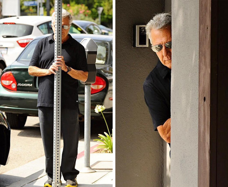 5 - Dustin Hoffman gets really creative while avoiding being photographed.