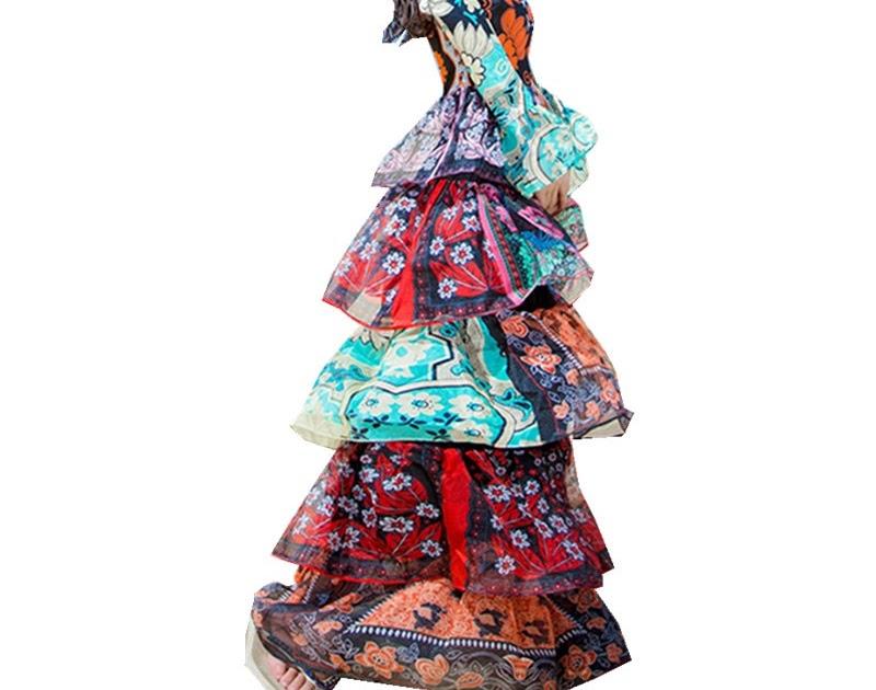 5573693d9aad19 Beste Koop HAMALIEL Luxe Boho Vakantie Strand Lange Jurk 2018 Herfst  Vrouwen Designer Print Bloem Chiffon Flare Mouwen Cake Maxi Goedkoop ~ ...