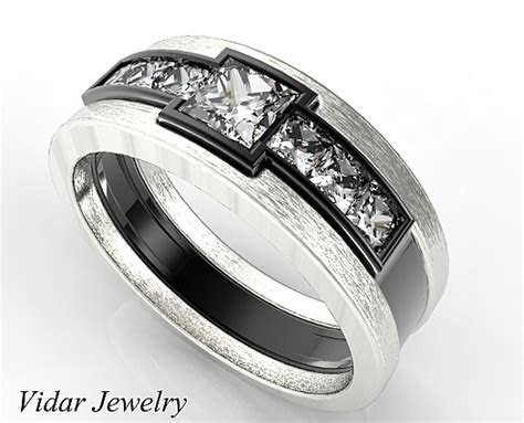 Two Tone Black Gold Men's Wedding Band   Vidar Jewelry