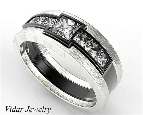 Two Tone Black Gold Men's Wedding Band   Vidar Jewelry