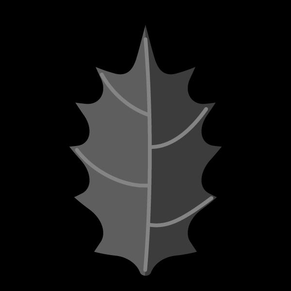 モノクロでかわいいヒイラギの葉っぱの無料イラスト商用フリー オイデ43
