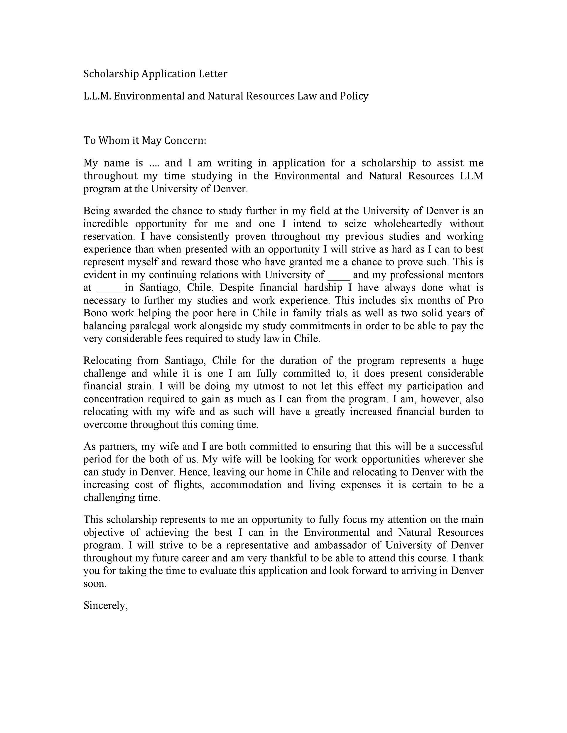Application Letter Sample For Scholarship Kotimamma